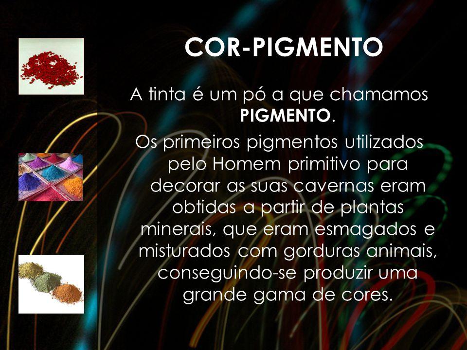COR-PIGMENTO A tinta é um pó a que chamamos PIGMENTO. Os primeiros pigmentos utilizados pelo Homem primitivo para decorar as suas cavernas eram obtida