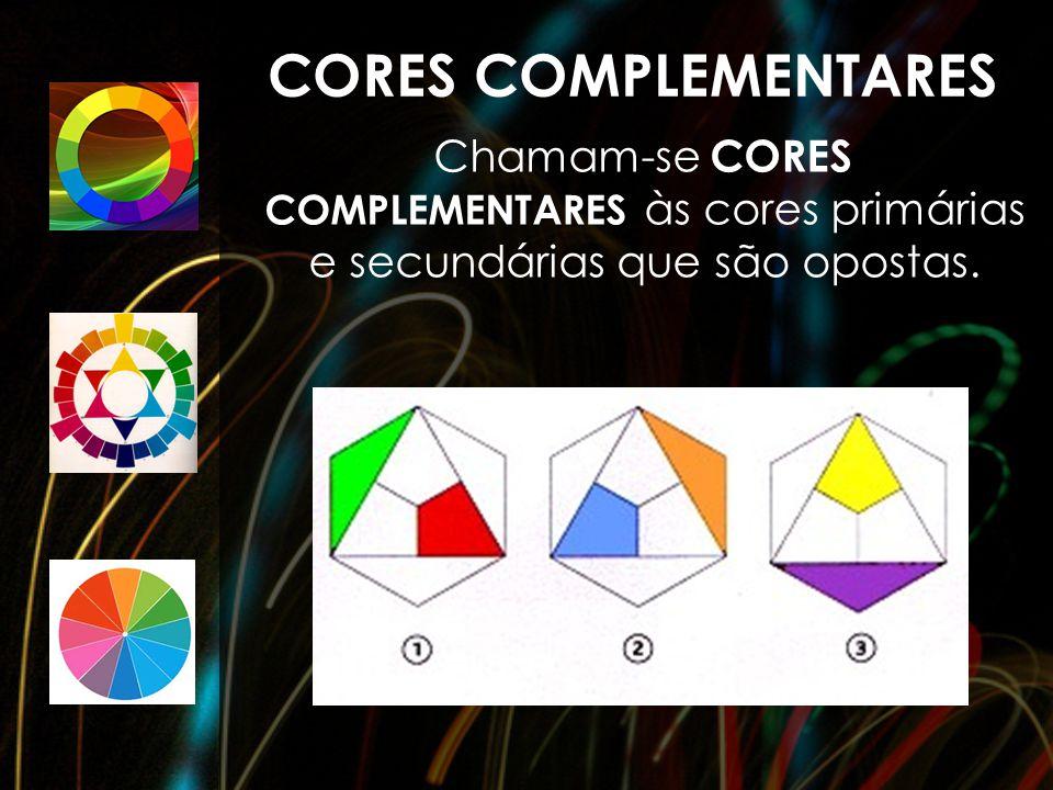 Chamam-se CORES COMPLEMENTARES às cores primárias e secundárias que são opostas. CORES COMPLEMENTARES