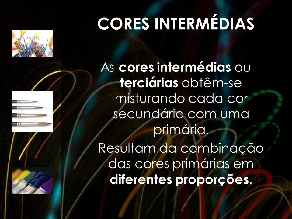 CORES INTERMÉDIAS As cores intermédias ou terciárias obtêm-se misturando cada cor secundária com uma primária. Resultam da combinação das cores primár