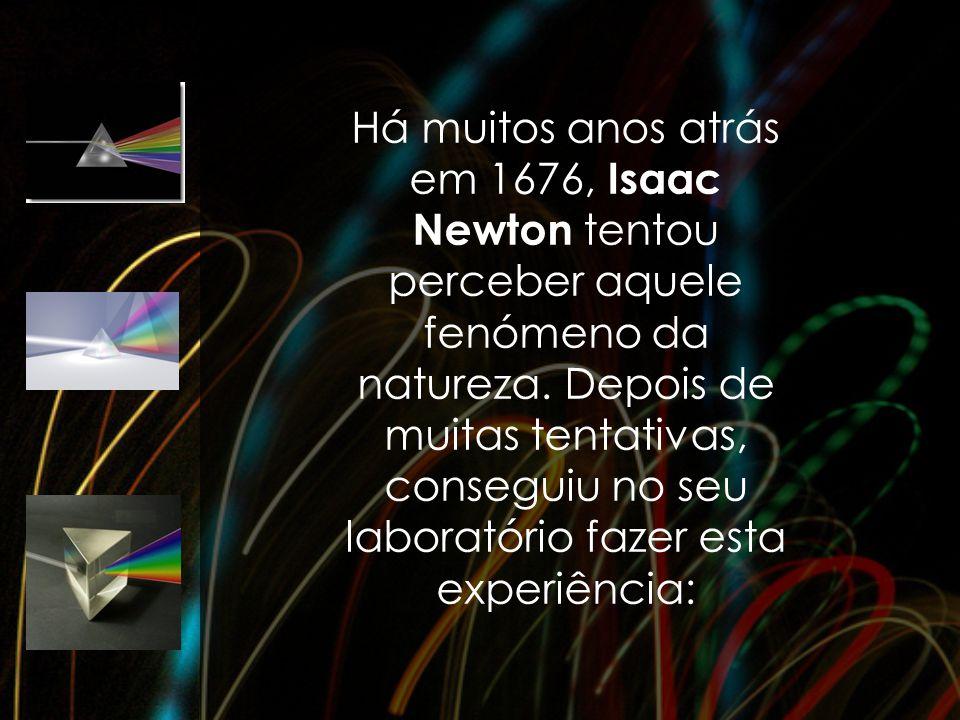 Há muitos anos atrás em 1676, Isaac Newton tentou perceber aquele fenómeno da natureza. Depois de muitas tentativas, conseguiu no seu laboratório faze