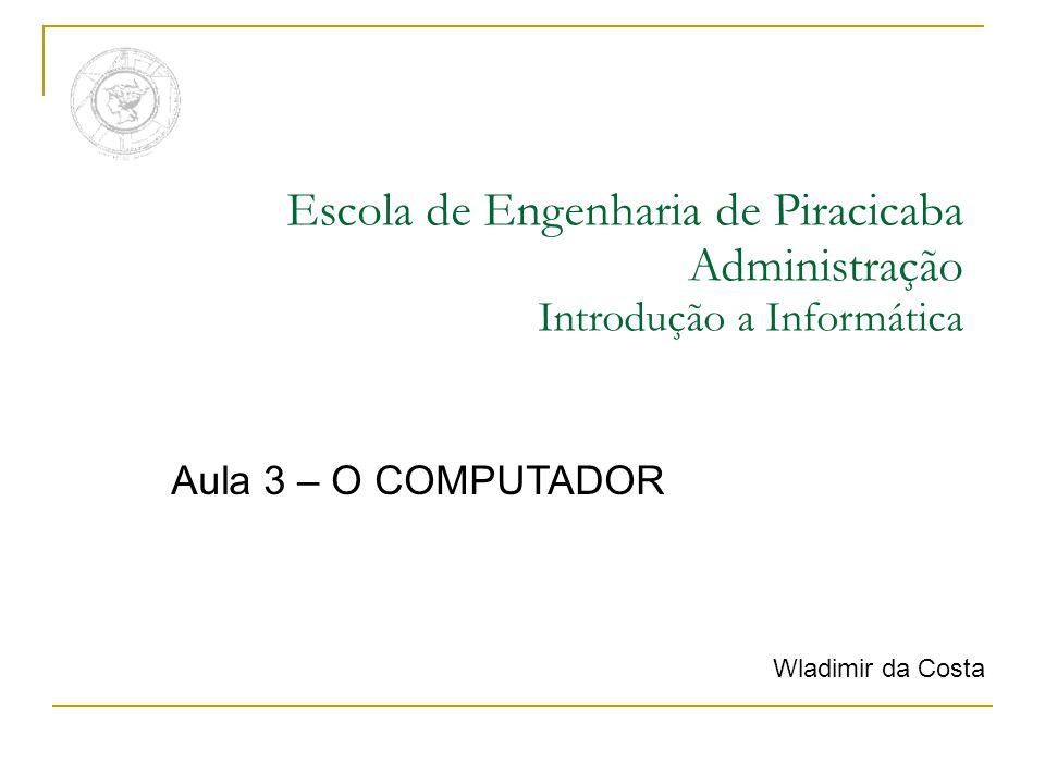 Escola de Engenharia de Piracicaba Administração Introdução a Informática Aula 3 – O COMPUTADOR Wladimir da Costa