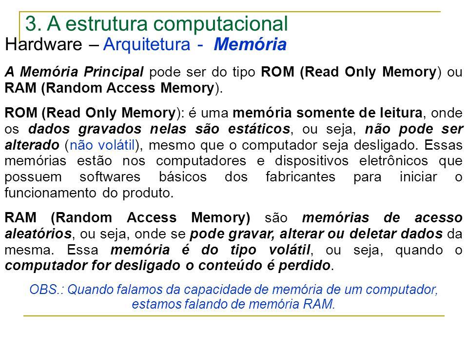 3. A estrutura computacional Hardware – Arquitetura - Memória A Memória Principal pode ser do tipo ROM (Read Only Memory) ou RAM (Random Access Memory