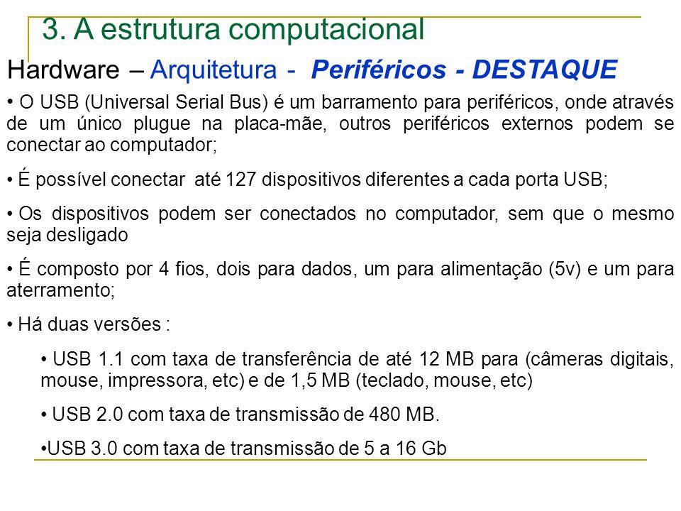 3. A estrutura computacional Hardware – Arquitetura - Periféricos - DESTAQUE O USB (Universal Serial Bus) é um barramento para periféricos, onde atrav