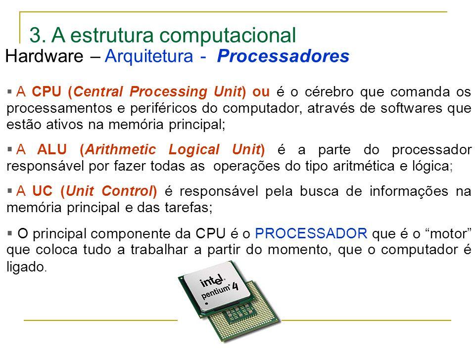 3. A estrutura computacional  A CPU (Central Processing Unit) ou é o cérebro que comanda os processamentos e periféricos do computador, através de so