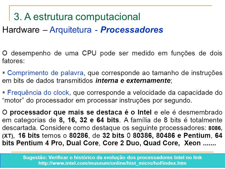 3. A estrutura computacional O desempenho de uma CPU pode ser medido em funções de dois fatores:  Comprimento de palavra, que corresponde ao tamanho