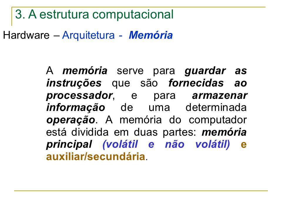 3. A estrutura computacional Hardware – Arquitetura - Memória A memória serve para guardar as instruções que são fornecidas ao processador, e para arm