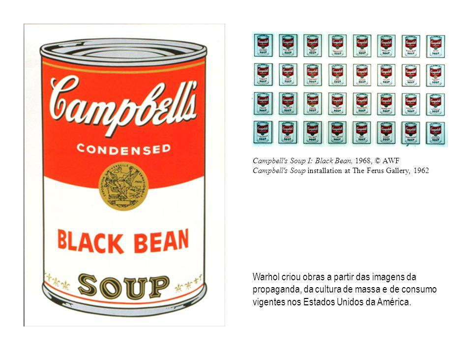 Warhol criou obras a partir das imagens da propaganda, da cultura de massa e de consumo vigentes nos Estados Unidos da América.