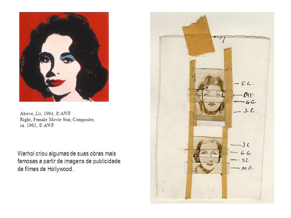 Warhol criou algumas de suas obras mais famosas a partir de imagens de publicidade de filmes de Hollywood.