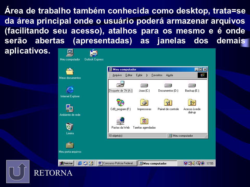 Área de trabalho também conhecida como desktop, trata=se da área principal onde o usuário poderá armazenar arquivos (facilitando seu acesso), atalhos