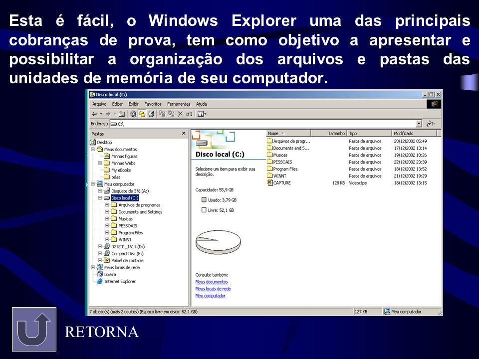 Esta é fácil, o Windows Explorer uma das principais cobranças de prova, tem como objetivo a apresentar e possibilitar a organização dos arquivos e pas