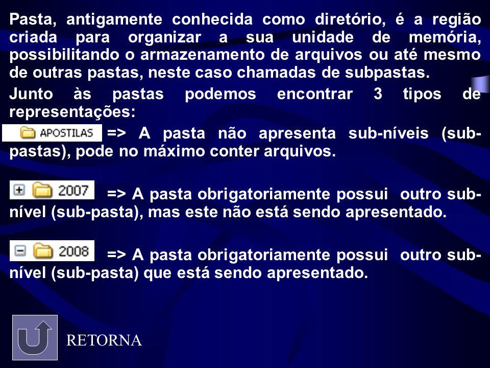 Pasta, antigamente conhecida como diretório, é a região criada para organizar a sua unidade de memória, possibilitando o armazenamento de arquivos ou