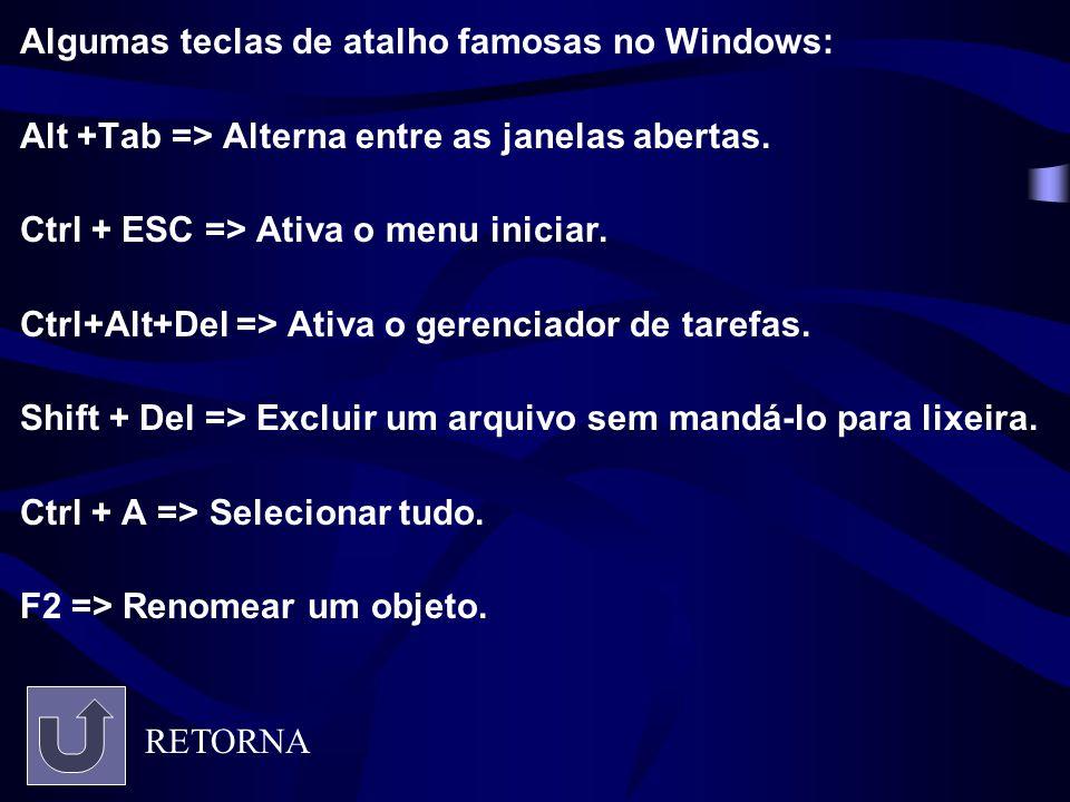 Algumas teclas de atalho famosas no Windows: Alt +Tab => Alterna entre as janelas abertas. Ctrl + ESC => Ativa o menu iniciar. Ctrl+Alt+Del => Ativa o