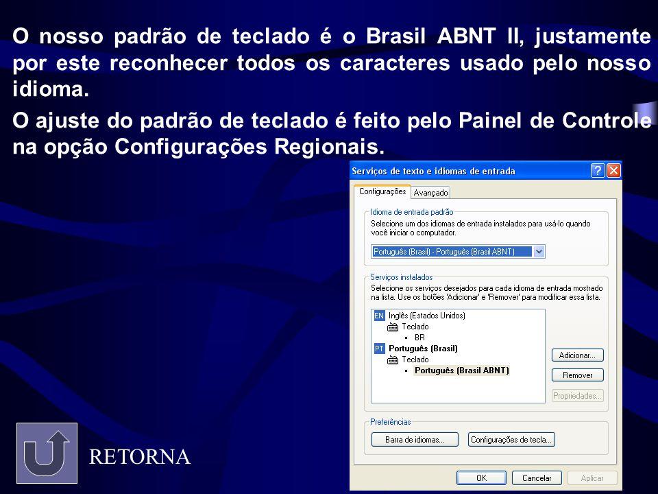 O nosso padrão de teclado é o Brasil ABNT II, justamente por este reconhecer todos os caracteres usado pelo nosso idioma. O ajuste do padrão de teclad
