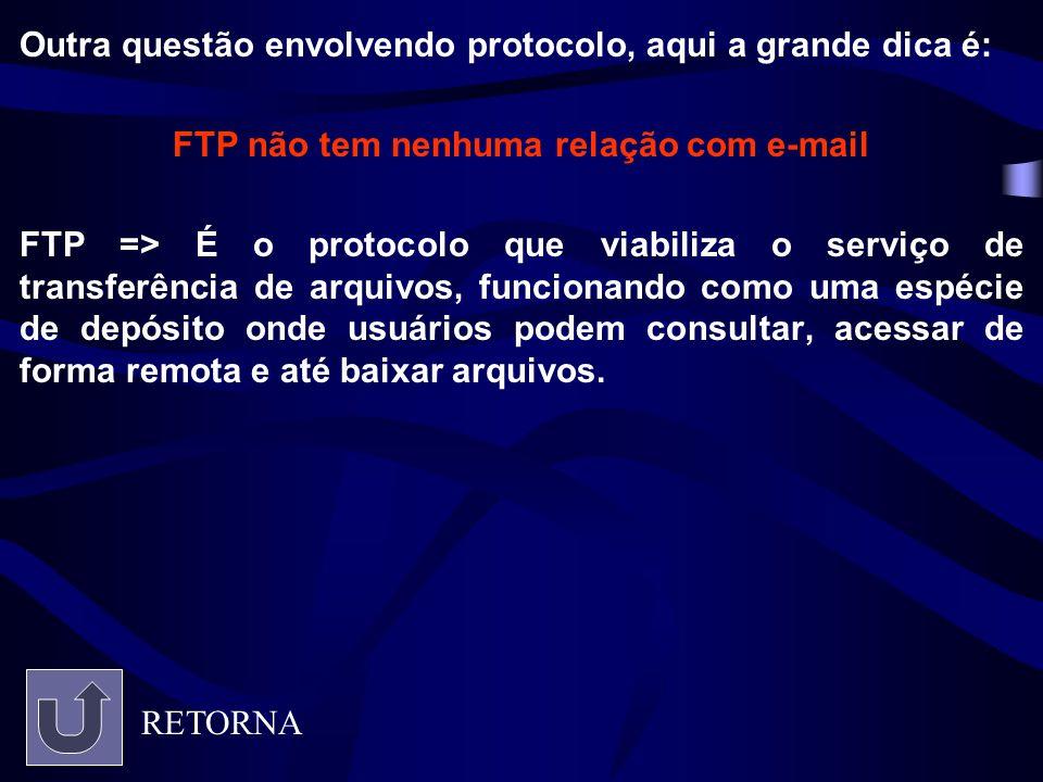 Outra questão envolvendo protocolo, aqui a grande dica é: FTP não tem nenhuma relação com e-mail FTP => É o protocolo que viabiliza o serviço de trans