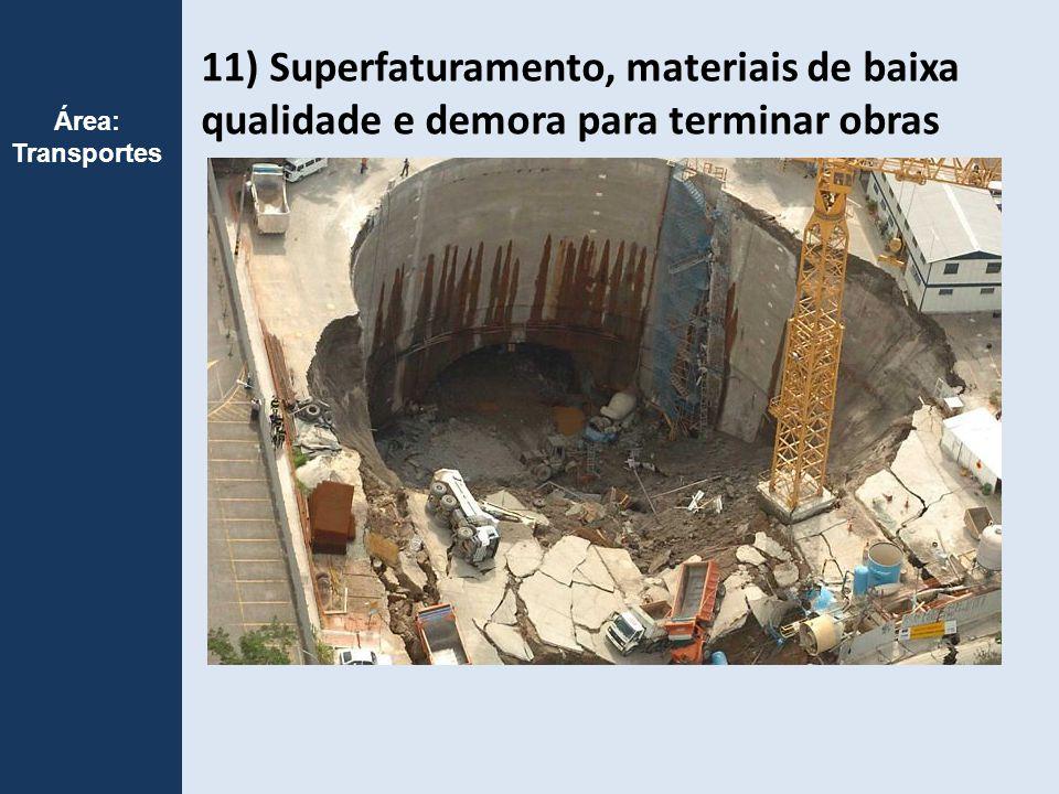 11) Superfaturamento, materiais de baixa qualidade e demora para terminar obras Área: Transportes