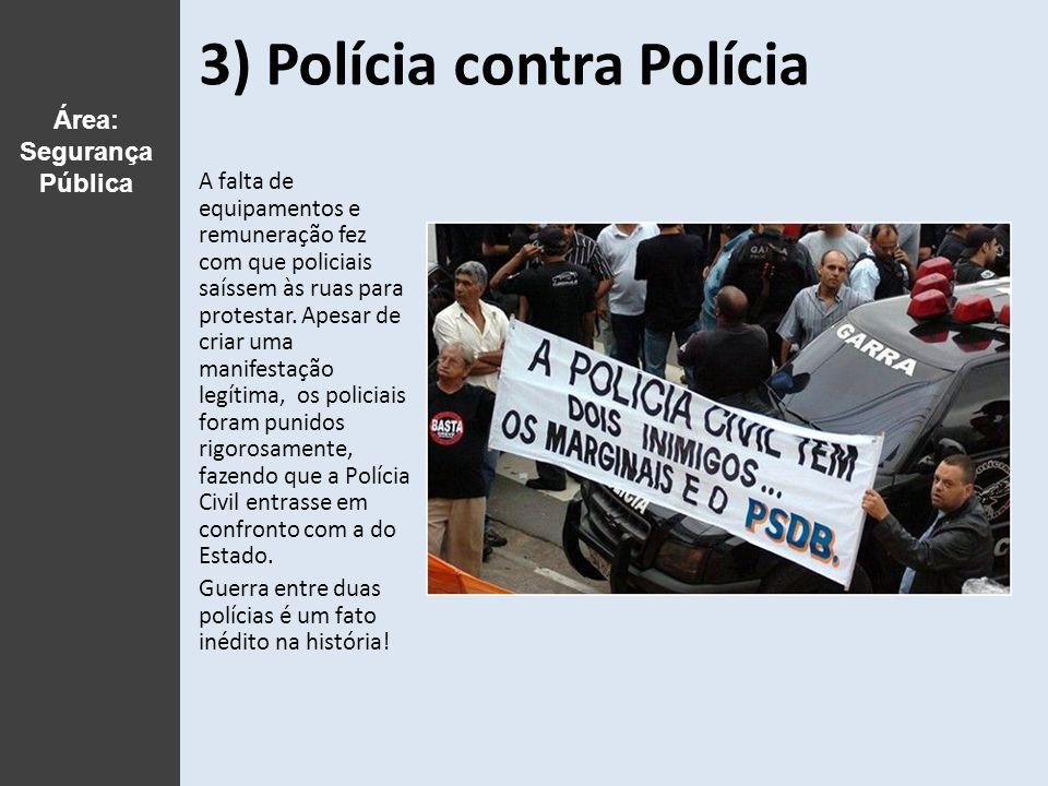 3) Polícia contra Polícia A falta de equipamentos e remuneração fez com que policiais saíssem às ruas para protestar.