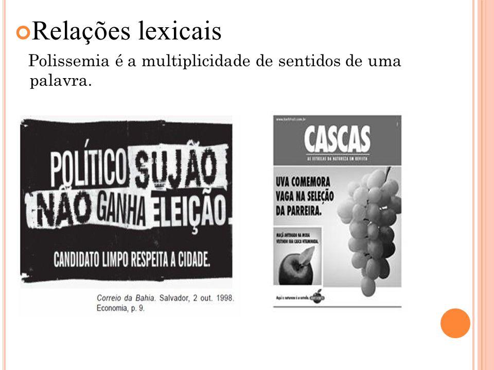 Relações lexicais Polissemia é a multiplicidade de sentidos de uma palavra.