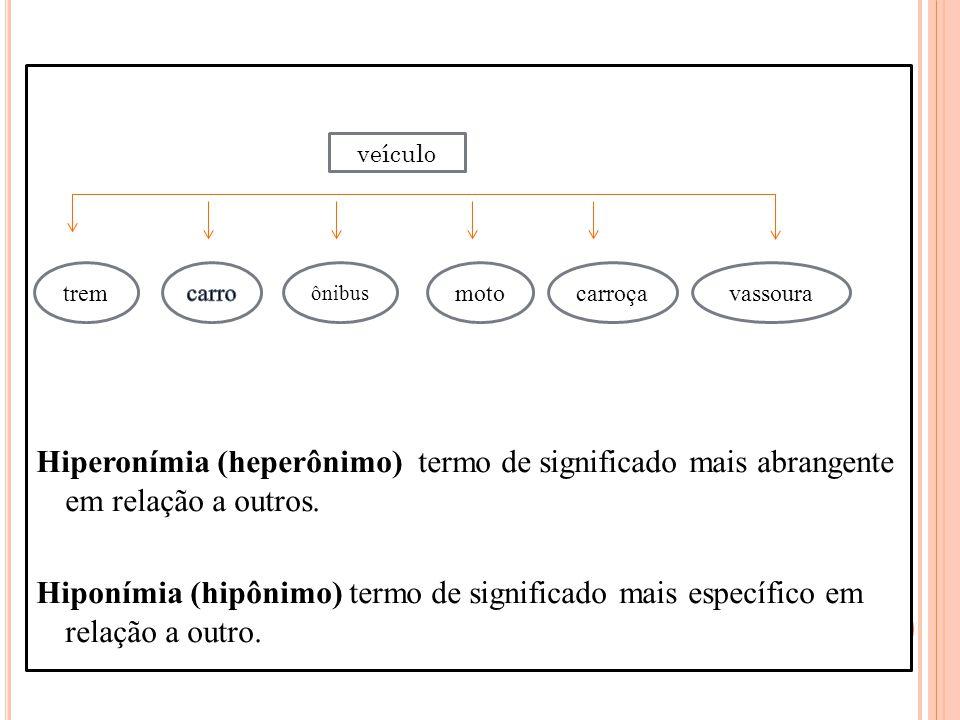 Hiperonímia (heperônimo) termo de significado mais abrangente em relação a outros. Hiponímia (hipônimo) termo de significado mais específico em relaçã