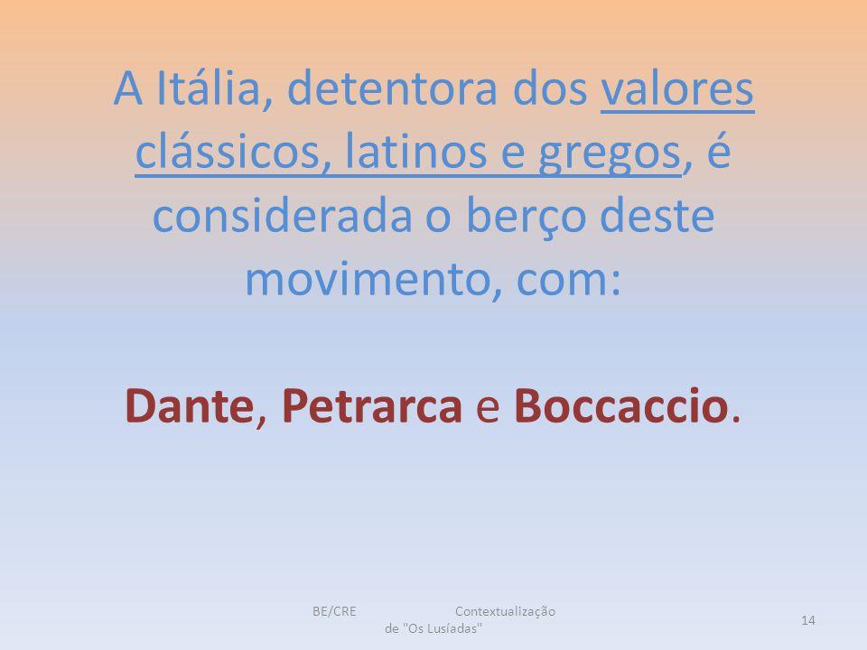 A Itália, detentora dos valores clássicos, latinos e gregos, é considerada o berço deste movimento, com: Dante, Petrarca e Boccaccio.