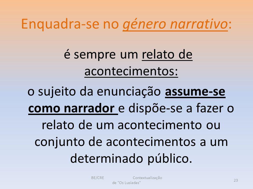 Enquadra-se no género narrativo: é sempre um relato de acontecimentos: o sujeito da enunciação assume-se como narrador e dispõe-se a fazer o relato de um acontecimento ou conjunto de acontecimentos a um determinado público.