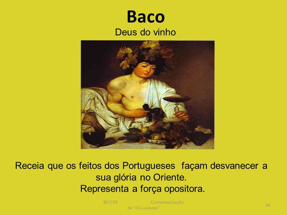 Baco Receia que os feitos dos Portugueses façam desvanecer a sua glória no Oriente.