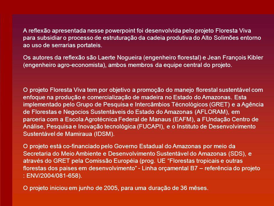A reflexão apresentada nesse powerpoint foi desenvolvida pelo projeto Floresta Viva para subsidiar o processo de estruturação da cadeia produtiva do A