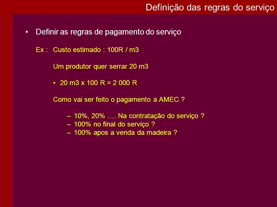Definir as regras de pagamento do serviço Ex : Custo estimado : 100R / m3 Um produtor quer serrar 20 m3 20 m3 x 100 R = 2 000 R Como vai ser feito o p