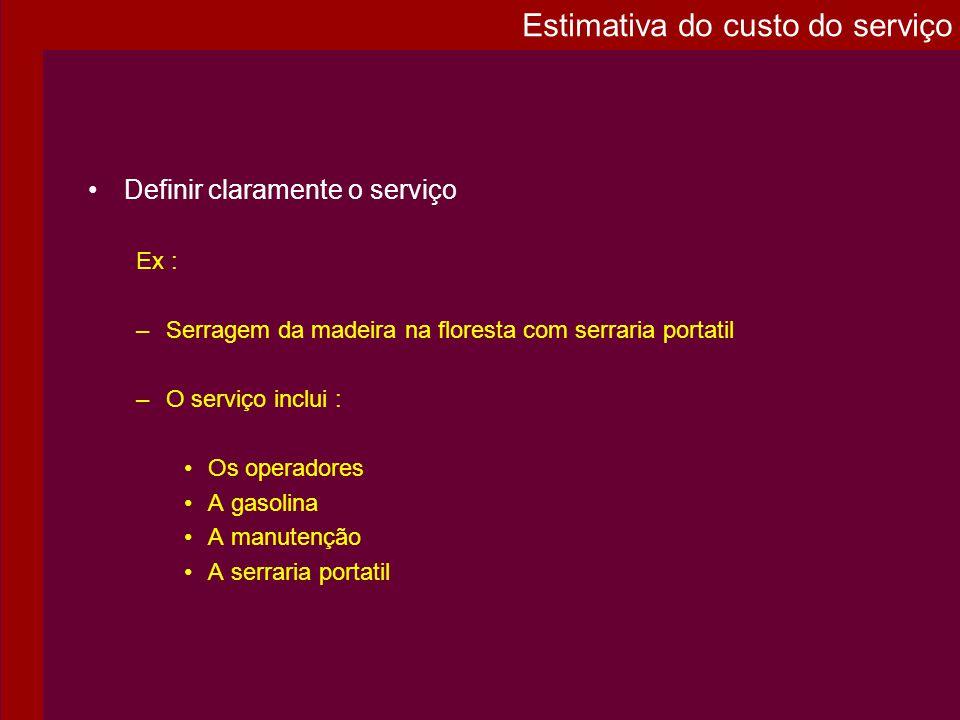 Definir claramente o serviço Ex : –Serragem da madeira na floresta com serraria portatil –O serviço inclui : Os operadores A gasolina A manutenção A s
