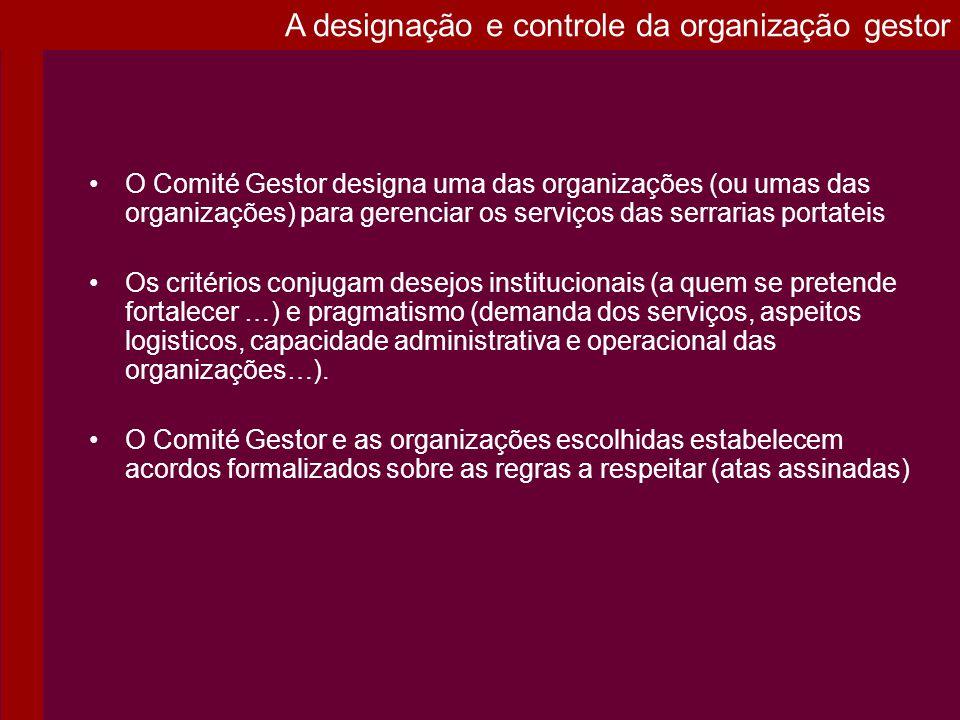 O Comité Gestor designa uma das organizações (ou umas das organizações) para gerenciar os serviços das serrarias portateis Os critérios conjugam desej