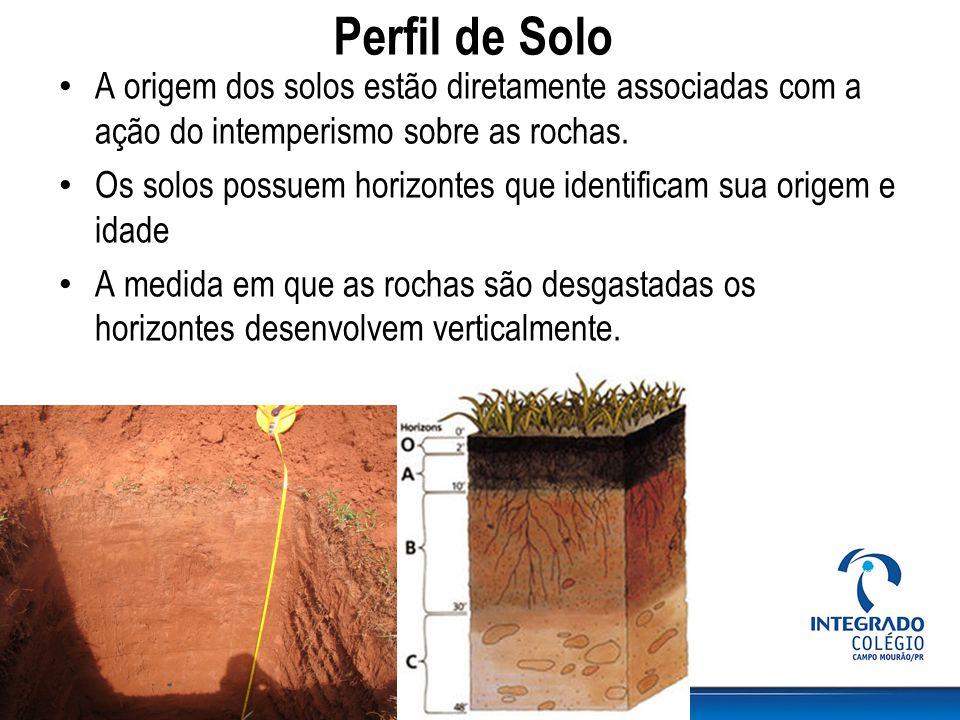 Perfil de Solo A origem dos solos estão diretamente associadas com a ação do intemperismo sobre as rochas. Os solos possuem horizontes que identificam