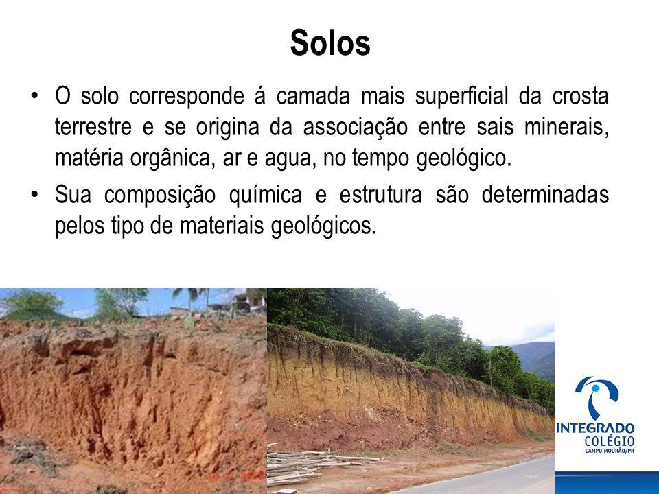 Solos O solo corresponde á camada mais superficial da crosta terrestre e se origina da associação entre sais minerais, matéria orgânica, ar e agua, no