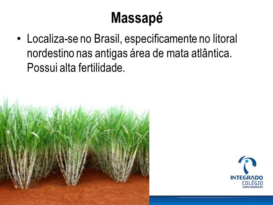 Massapé Localiza-se no Brasil, especificamente no litoral nordestino nas antigas área de mata atlântica. Possui alta fertilidade.