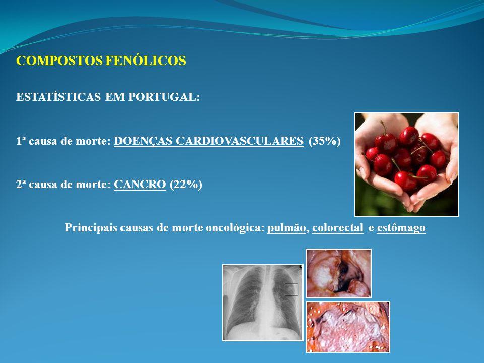 ESTATÍSTICAS EM PORTUGAL: 1ª causa de morte: DOENÇAS CARDIOVASCULARES (35%) 2ª causa de morte: CANCRO (22%) Principais causas de morte oncológica: pulmão, colorectal e estômago COMPOSTOS FENÓLICOS