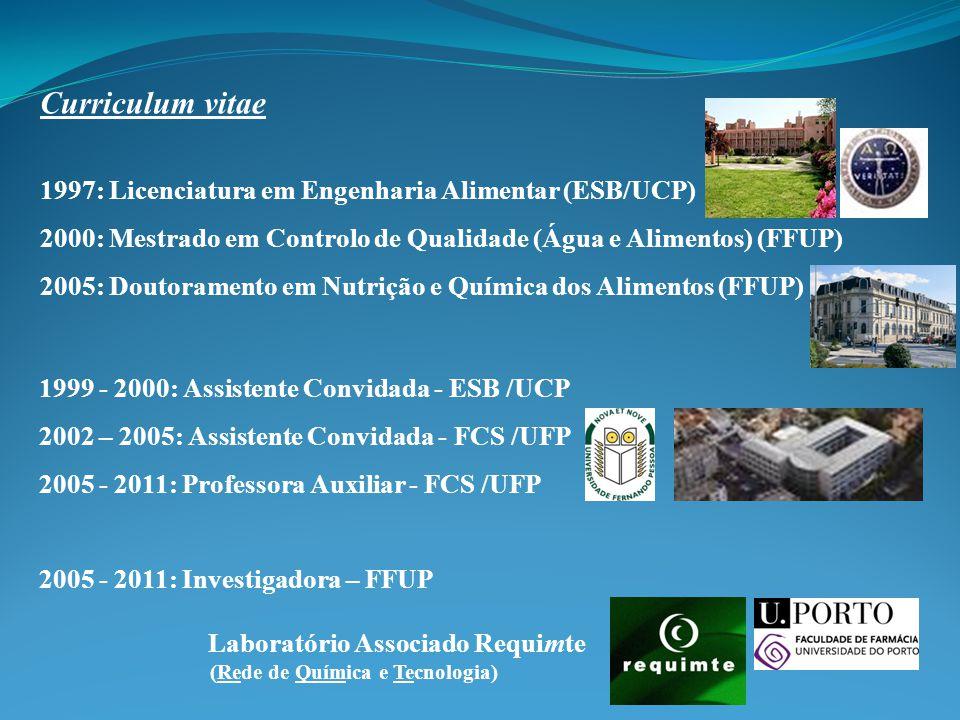 1999 - 2000: Assistente Convidada - ESB /UCP 2002 – 2005: Assistente Convidada - FCS /UFP 2005 - 2011: Professora Auxiliar - FCS /UFP Curriculum vitae 1997: Licenciatura em Engenharia Alimentar (ESB/UCP) 2000: Mestrado em Controlo de Qualidade (Água e Alimentos) (FFUP) 2005: Doutoramento em Nutrição e Química dos Alimentos (FFUP) 2005 - 2011: Investigadora – FFUP Laboratório Associado Requimte (Rede de Química e Tecnologia)