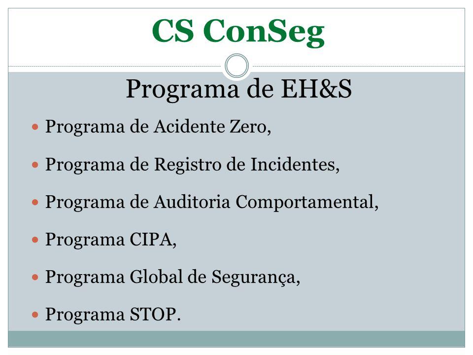 CS ConSeg Programa de EH&S Programa de Acidente Zero, Programa de Registro de Incidentes, Programa de Auditoria Comportamental, Programa CIPA, Program