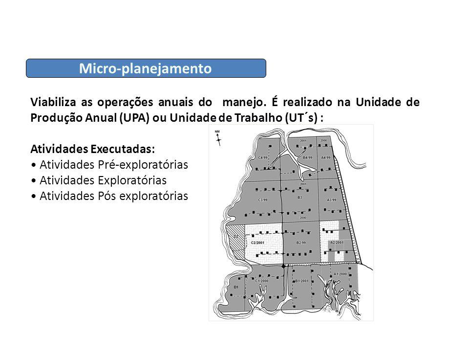 Micro-planejamento Viabiliza as operações anuais do manejo. É realizado na Unidade de Produção Anual (UPA) ou Unidade de Trabalho (UT´s) : Atividades