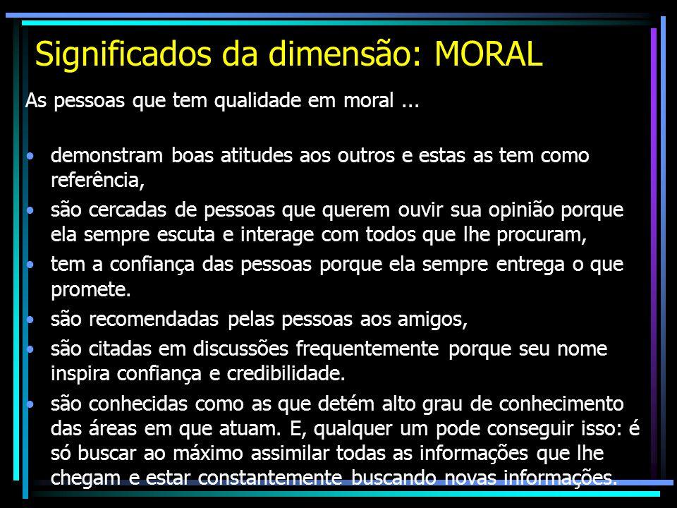 Significados da dimensão: MORAL As pessoas que tem qualidade em moral... demonstram boas atitudes aos outros e estas as tem como referência, são cerca