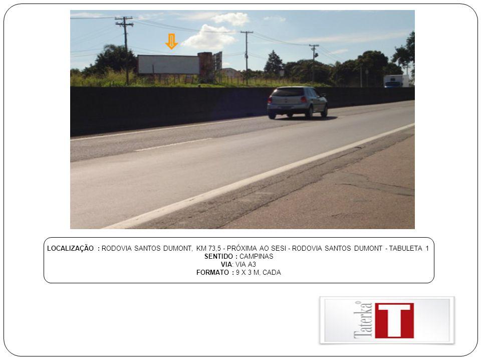 LOCALIZAÇÃO : RODOVIA SANTOS DUMONT, KM 73,5 - PRÓXIMA AO SESI - RODOVIA SANTOS DUMONT - TABULETA 1 SENTIDO : CAMPINAS VIA: VIA A3 FORMATO : 9 X 3 M,