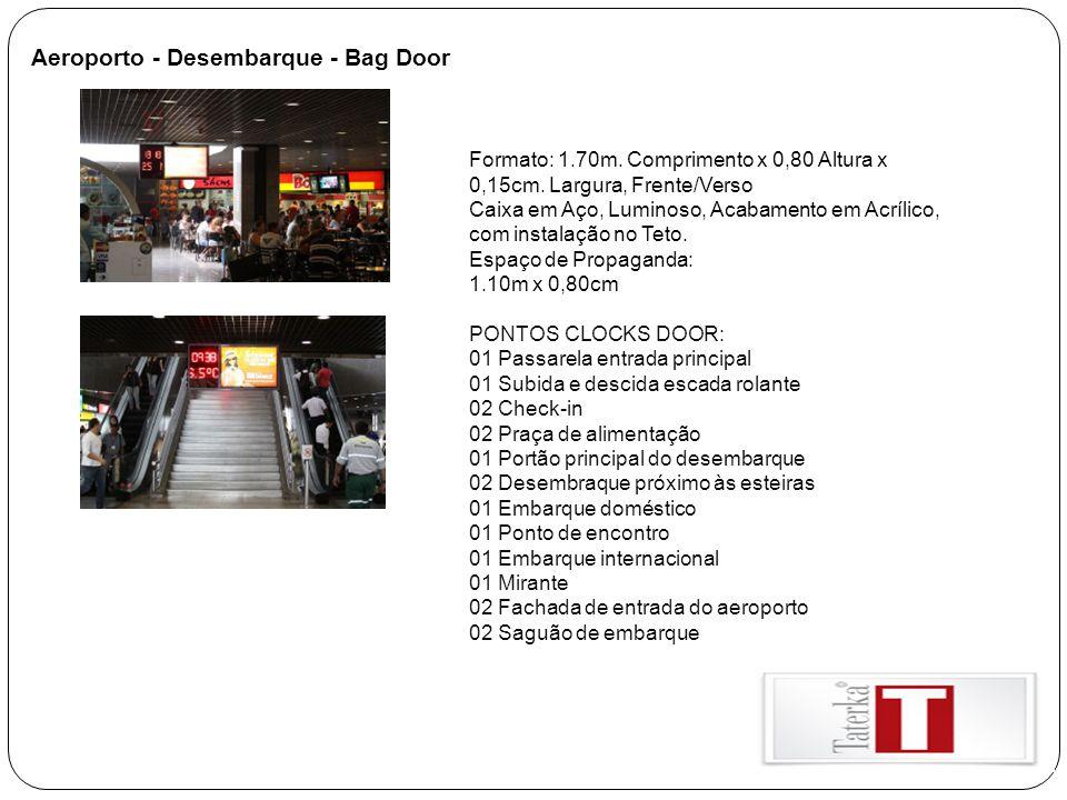 Aeroporto - Desembarque - Bag Door Formato: 1.70m. Comprimento x 0,80 Altura x 0,15cm. Largura, Frente/Verso Caixa em Aço, Luminoso, Acabamento em Acr