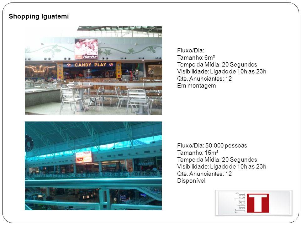 Shopping Iguatemi Fluxo/Dia: Tamanho: 6m² Tempo da Mídia: 20 Segundos Visibilidade: Ligado de 10h as 23h Qte. Anunciantes: 12 Em montagem Fluxo/Dia: 5