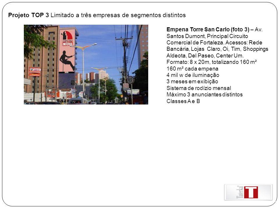 Projeto TOP 3 Limitado a três empresas de segmentos distintos Empena Torre San Carlo (foto 3) – Av. Santos Dumont, Principal Circuito Comercial de For