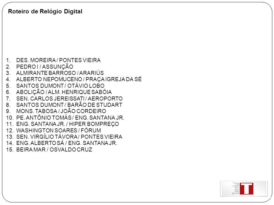 Roteiro de Relógio Digital 1.DES. MOREIRA / PONTES VIEIRA 2.PEDRO I / ASSUNÇÃO 3.ALMIRANTE BARROSO / ARARIÚS 4.ALBERTO NEPOMUCENO / PRAÇA IGREJA DA SÉ