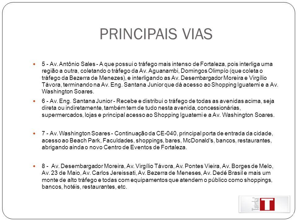 PRINCIPAIS VIAS 5 - Av. Antônio Sales - A que possui o tráfego mais intenso de Fortaleza, pois interliga uma região a outra, coletando o tráfego da Av