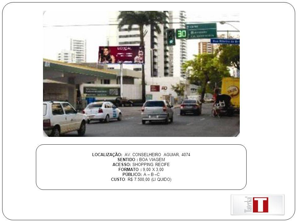 LOCALIZAÇÃO: AV. CONSELHEIRO AGUIAR, 4074 SENTIDO : BOA VIAGEM ACESSO: SHOPPING RECIFE FORMATO : 9,00 X 3,00 PÚBLICO: A – B –C CUSTO: R$ 7.500,00 (LI
