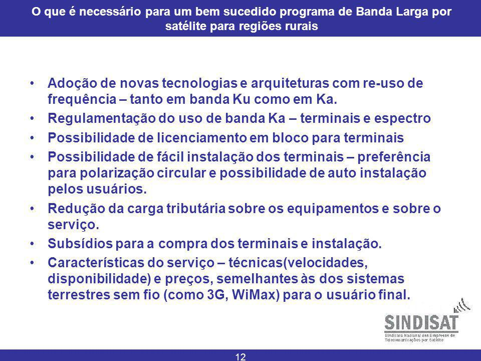 12 O que é necessário para um bem sucedido programa de Banda Larga por satélite para regiões rurais Adoção de novas tecnologias e arquiteturas com re-uso de frequência – tanto em banda Ku como em Ka.