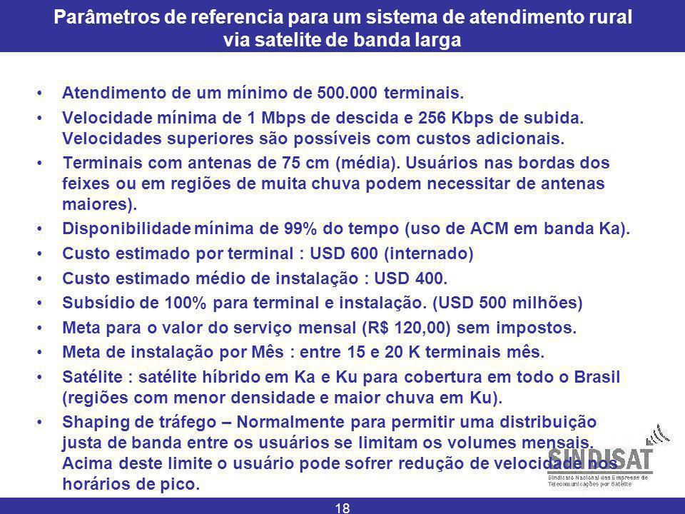 18 Parâmetros de referencia para um sistema de atendimento rural via satelite de banda larga Atendimento de um mínimo de 500.000 terminais.