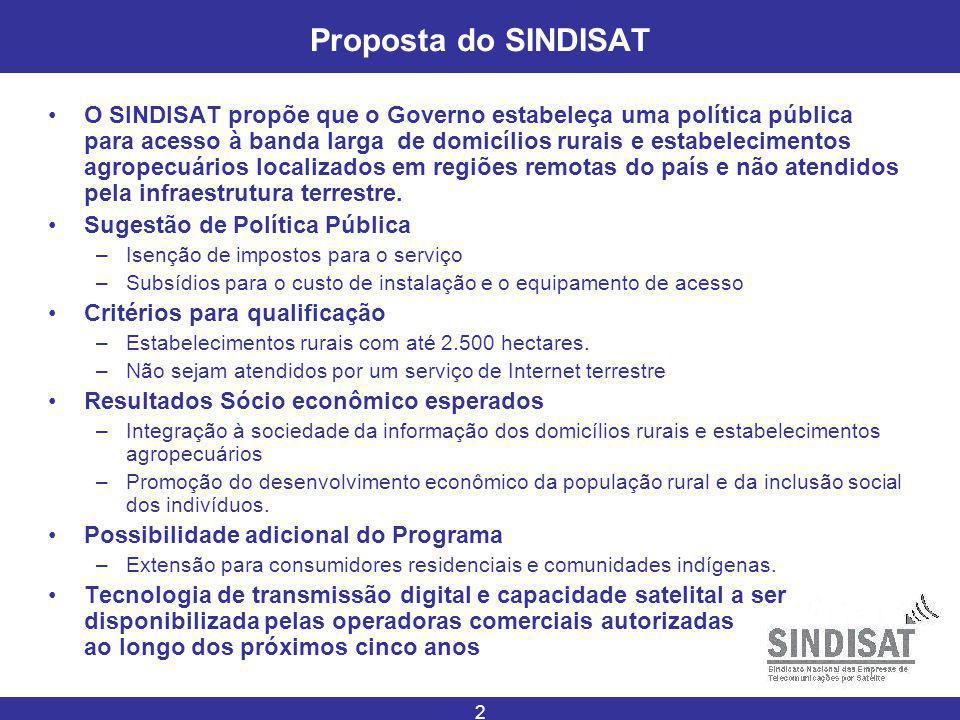 2 Proposta do SINDISAT O SINDISAT propõe que o Governo estabeleça uma política pública para acesso à banda larga de domicílios rurais e estabelecimentos agropecuários localizados em regiões remotas do país e não atendidos pela infraestrutura terrestre.