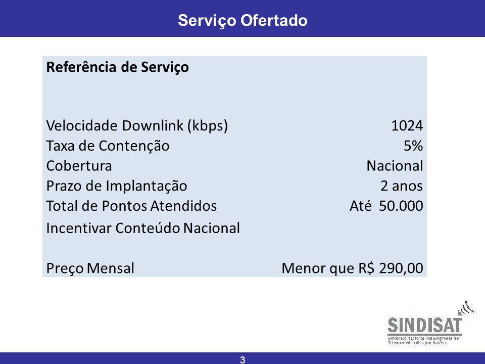 3 Serviço Ofertado Referência de Serviço Velocidade Downlink (kbps)1024 Taxa de Contenção5% CoberturaNacional Prazo de Implantação2 anos Total de Pontos AtendidosAté 50.000 Incentivar Conteúdo Nacional Preço MensalMenor que R$ 290,00