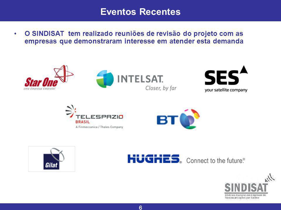 6 Eventos Recentes O SINDISAT tem realizado reuniões de revisão do projeto com as empresas que demonstraram interesse em atender esta demanda