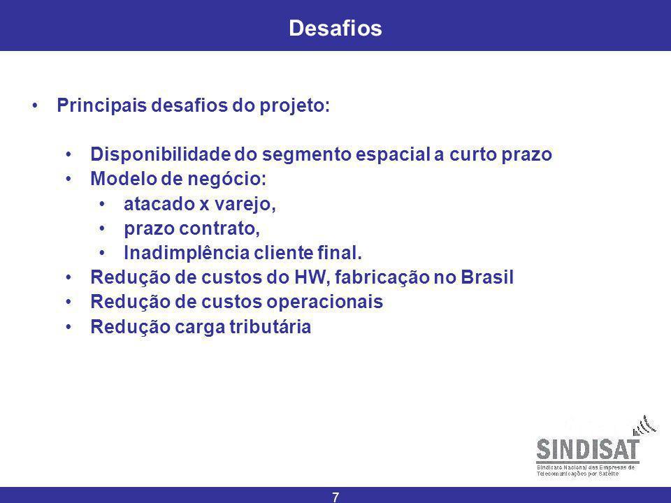 7 Desafios Principais desafios do projeto: Disponibilidade do segmento espacial a curto prazo Modelo de negócio: atacado x varejo, prazo contrato, Inadimplência cliente final.